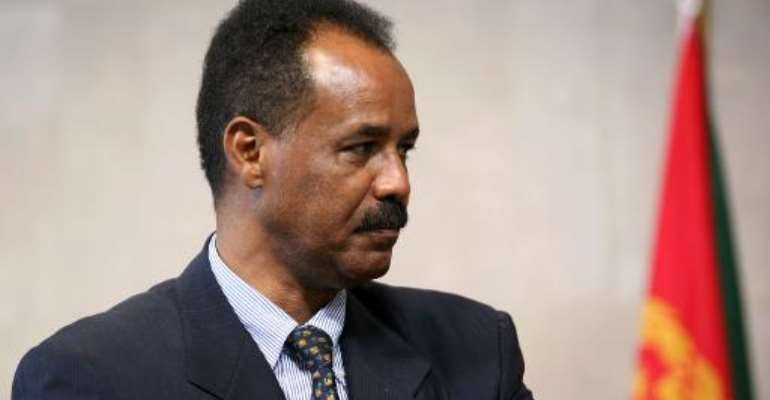 Eritrean President Issaias Afeworki seen at a press point at the end of a meeting on May 4, 2007 at EU headquarters in Brussels.  By Gerard Cerles (AFP/File)