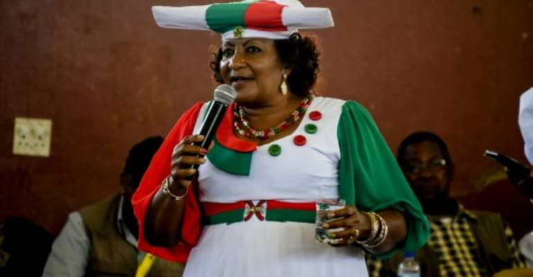 Esther Muinjangue, Namibia's first woman to run for president, told AFP of her bid 'restore dignity' to the southwest African country.  By HILDEGARD TITUS (AFP)