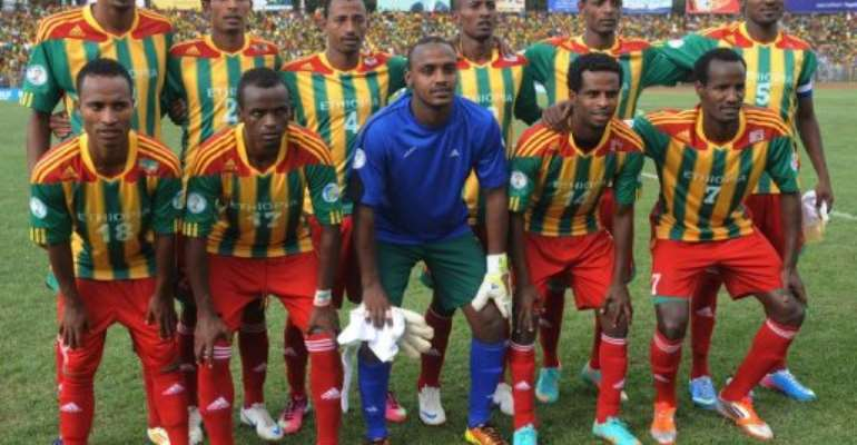 Ethiopia's national football team, pictured on June 16, 2013 in Addis Ababa.  By Simon Maina (AFP/File)