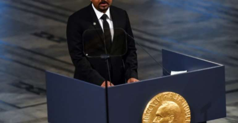 Ethiopian Prime Minister Abiy Ahmed, pictured last month after receiving the Nobel Peace Prize in Oslo.  By Fredrik VARFJELL (AFP)