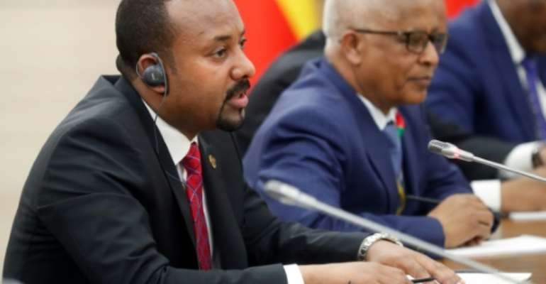 Ethiopia's Prime Minister Abiy Ahmed, pictured  October 23, 2019, has raised the prospect of more ethnic violence.  By Sergei CHIRIKOV (POOL/AFP)