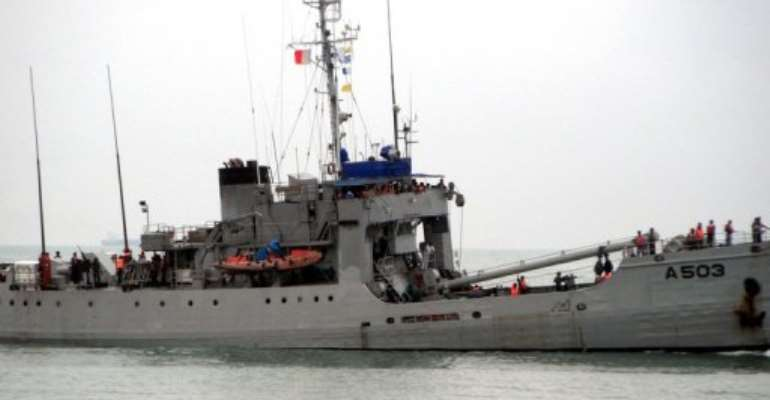 A Nigerian navy vessel off the coast of Contonou, Benin on September 28, 2011.  By Str (AFP)