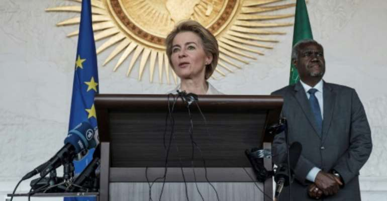 European Commission president Ursula von der Leyen in Ethiopia's capital Addis Ababa, her first trip outside Europe since being appointed.  By EDUARDO SOTERAS (AFP)