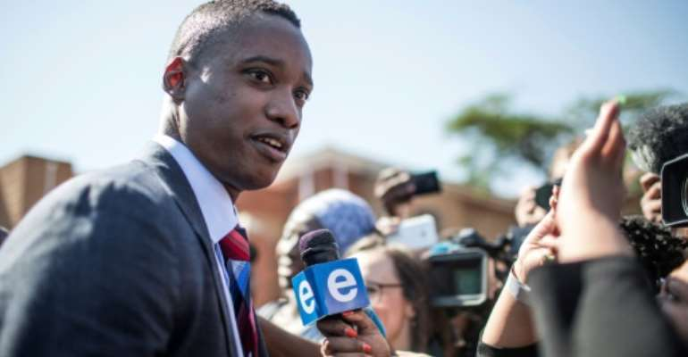 File picture of Duduzane Zuma as he entered Randburg Magistrates Court in October.  By GULSHAN KHAN (AFP)