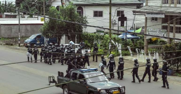 File picture of security forces in Buea, the capital of Southwest Region, after separatists declared an anglophone state on October 1 2017.  By STRINGER (AFP/File)