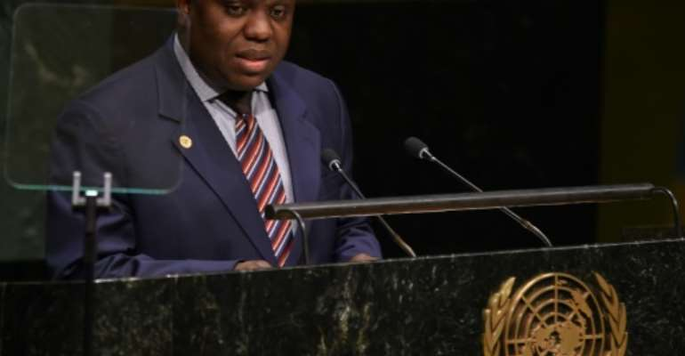 Foreign Minister of Zambia Harry Kalaba addresses the 69th session of the UN General Assembly in New York on September 26, 2014.  By DON EMMERT (AFP/File)