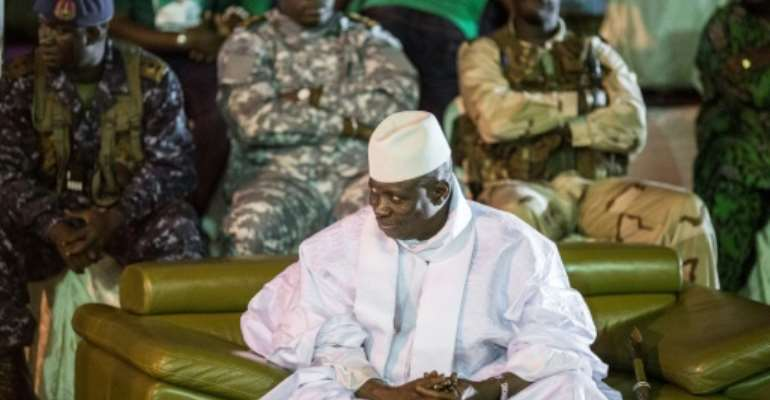 Former Gambian dictator Yahya Jammeh (pictured November 2016) lent his support to a demonstration planned for January 2020 by his backers in a leaked recording.  By MARCO LONGARI (AFP/File)