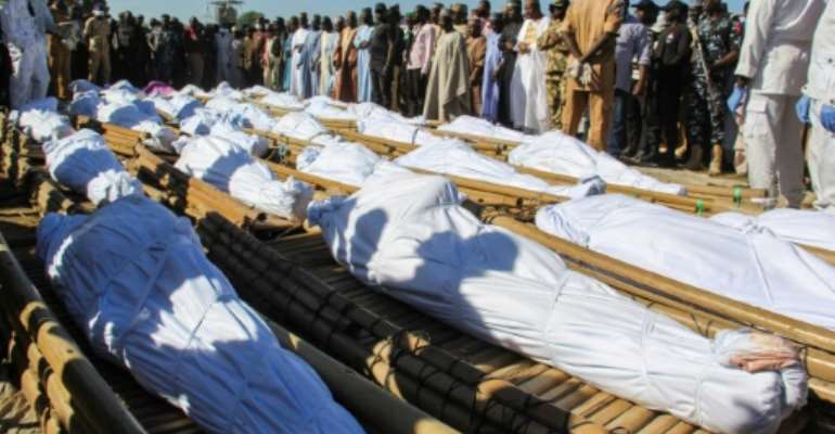 Forty-three of the victims were buried Sunday.  By Audu Marte (AFP)