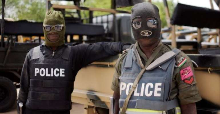 Police on patrol in Maiduguri in Borno state on June 5, 2013.  By Quentin Leboucher (AFP/File)