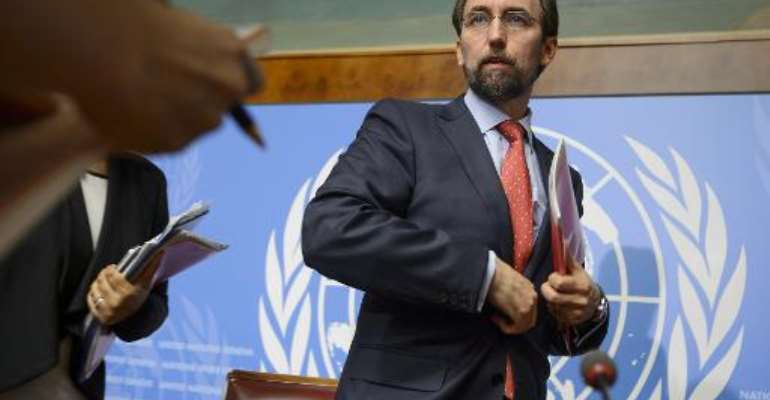 United Nations High Commissioner for Human Rights Zeid Ra'ad Al Hussein looks on after a press conference on May 8, 2015 in Geneva.  By Fabrice Coffrini (AFP)