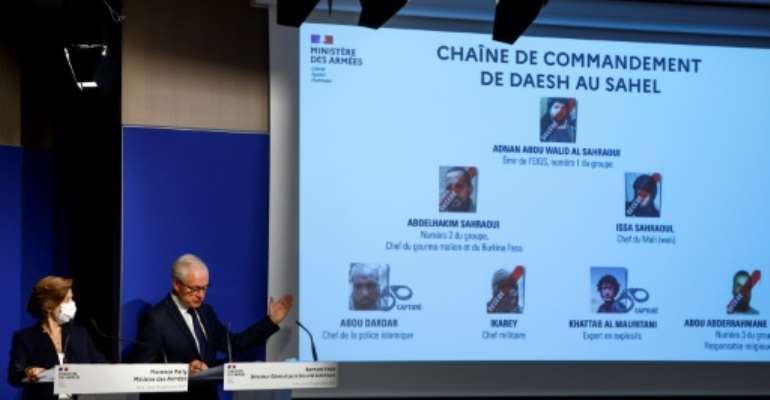 French Defence Minister Florence Parly, left, announced al-Sahrawi's killing on Thursday.  By Ludovic MARIN (AFP)