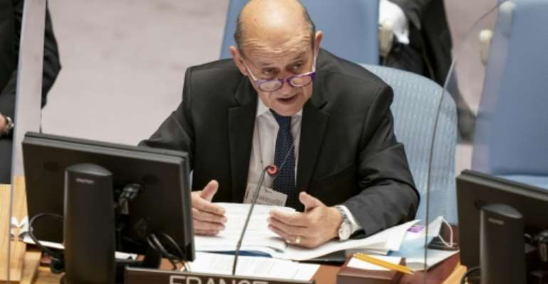 French Foreign Minister Jean-Yves Le Drian speaks during a meeting of the UN Security Council, on September 23, 2021.  By John Minchillo (POOL/AFP)