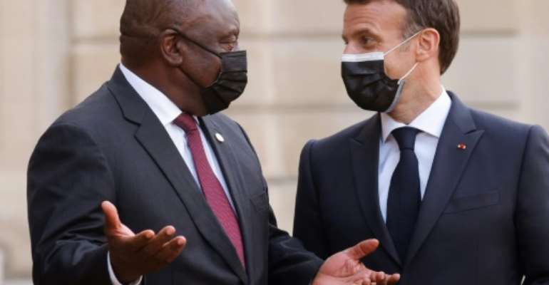 French President Emmanuel Macron and South Africa's President Cyril Ramaphosa met  in Paris earlier this month.  By Ludovic MARIN (AFP)