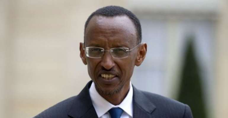 Paul Kagame at the Elysee Palace in Paris in 2011.  By Fred Dufour (AFP/File)