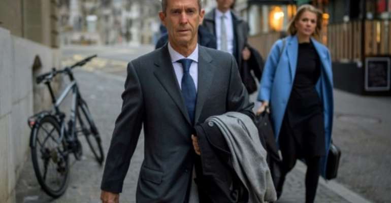 French-Israeli diamond magnate Beny Steinmetz walked to court for his corruption trial.  By Fabrice COFFRINI (AFP)