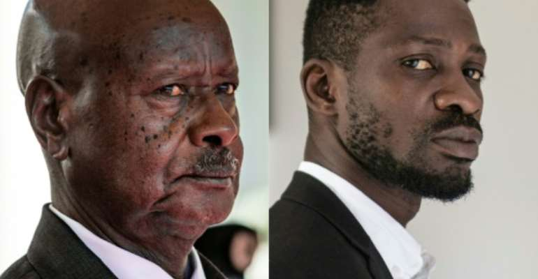 Frontrunners: President Yoweri Museveni, left, and musician-turned-politician Robert Kyagulanyi, also known as Bobi Wine.  By Sumy Sadurni , YASUYOSHI CHIBA (AFP/File)