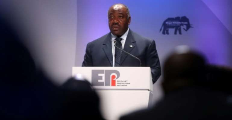 Gabon's President Ali Bongo Ondimba speaks at a London conference against the illegal trade in wildlife on October 11, 2018.  By Chris Jackson (POOL/AFP/File)