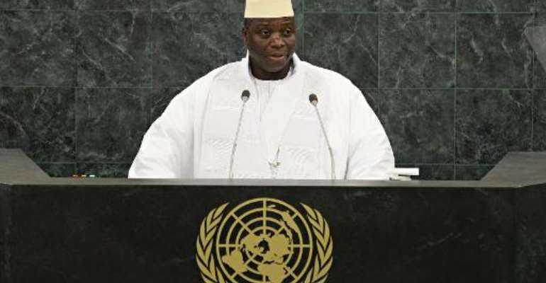 Gambian President Yahya Jammeh speaks at the 68th United Nations General Assembly on September 27, 2013 in New York.  By Andrew Burton (Pool/AFP/File)