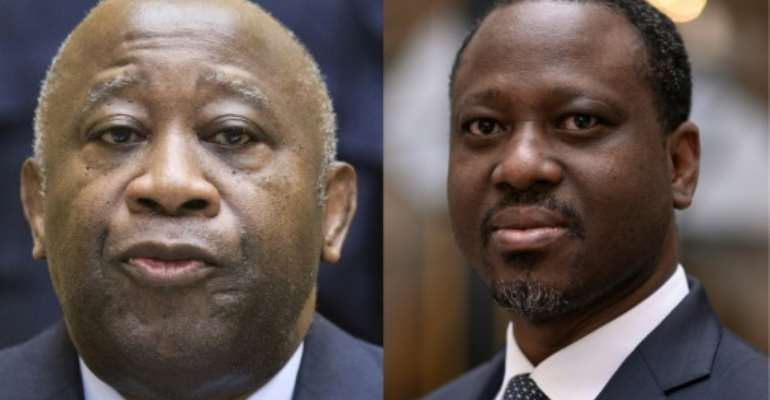 Gbagbo (L) and Soro have been barred from contesting and have been sentenced for alleged corruption.  By MICHAEL KOOREN, Lionel BONAVENTURE (POOL/AFP/File)