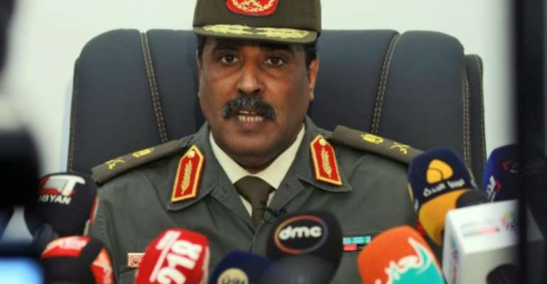 General Ahmed al-Mesmari, spokesman of the self-proclaimed Libyan National Army (LNA) loyal to strongman Khalifa Haftar, rules out dialogue to end battle for Tripoli.  By Abdullah DOMA (AFP)