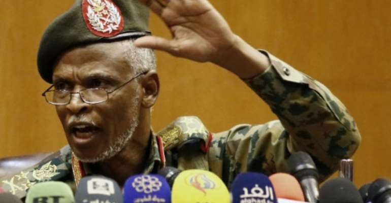 General Awad Ibn Ouf was sworn in as the head of the new Sudanese military council's political committee, only hours after the army's overthrow of Omar al-Bashir.  By ASHRAF SHAZLY (AFP)