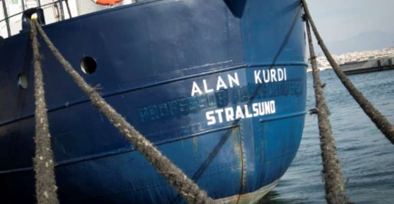 German NGO Sea-Eye was able to get 90 migrants onboard its ship Alan Kurdi (pictured February 2019) while under attack from militants.  By JAIME REINA (AFP/File)