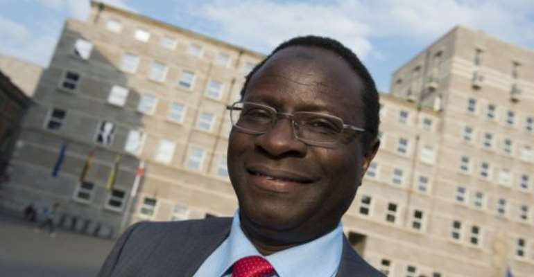 Senegalese-born lawmaker Karamba Diaby in Halle, eastern Germany, on May 6, 2013.  By John Macdougall (AFP/File)