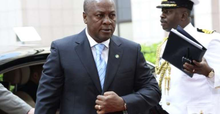File picture shows Ghana's President John Dramani Mahama arriving for the 4th EU-Africa summit at the EU headquarters in Brussels on April 2, 2014.  By  (AFP/File)