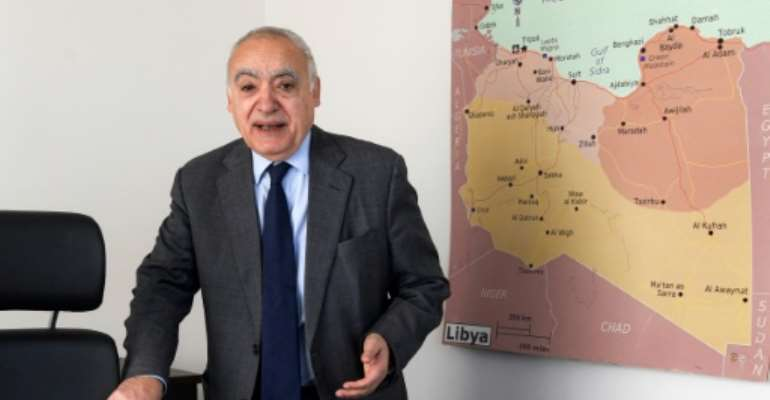 Ghassan Salame, the special representative and head of the United Nations Support Mission in Libya (UNSMIL), speaks during an interview with AFP at his office in the Tunisian capital Tunis.  By FETHI BELAID (AFP)