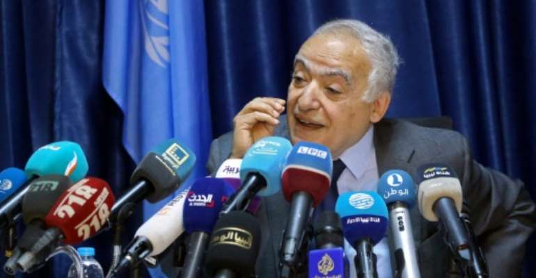 Ghassan Salame, UN special envoy for Libya and head of the UN Support Mission in Libya (UNSMIL), addresses journalists in the capital Tripoli.  By Mahmud TURKIA (AFP)