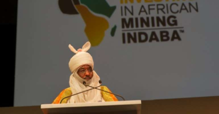 Lamido Sanusi, Emir of Kano, in Nigeria, and Chairman of the Black Rhino Group speaks on the first day of the Mining Indaba 2016 Conference on February 8, 2016, at the Cape Town International Convention Centre in Cape Town.  By Rodger Bosch (AFP)