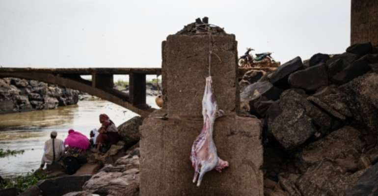 Goats, chickens, sheep and sometimes oxen are slaughtered at the sacred site.  By NICOLAS REMENE (AFP)