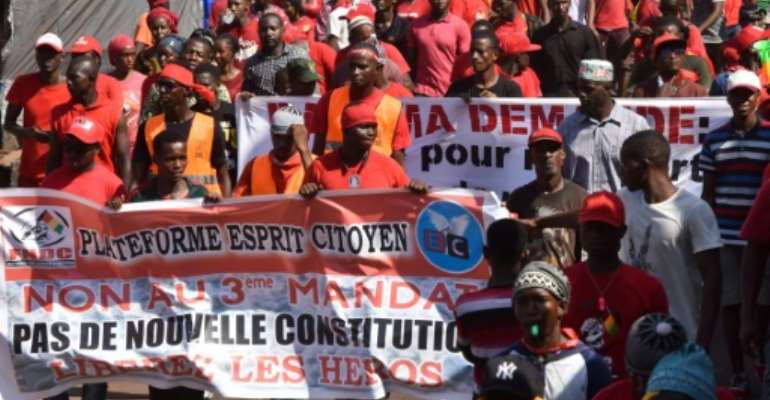 Guinea has seen rolling demonstrations since last month over suspicions that President Conde, 81, is seeking a third term in office.  By CELLOU BINANI (AFP)