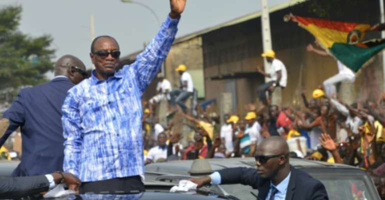 Guinea's President Aloha Conde is a former opposition figure who was jailed under previous regimes.  By CELLOU BINANI (AFP/File)