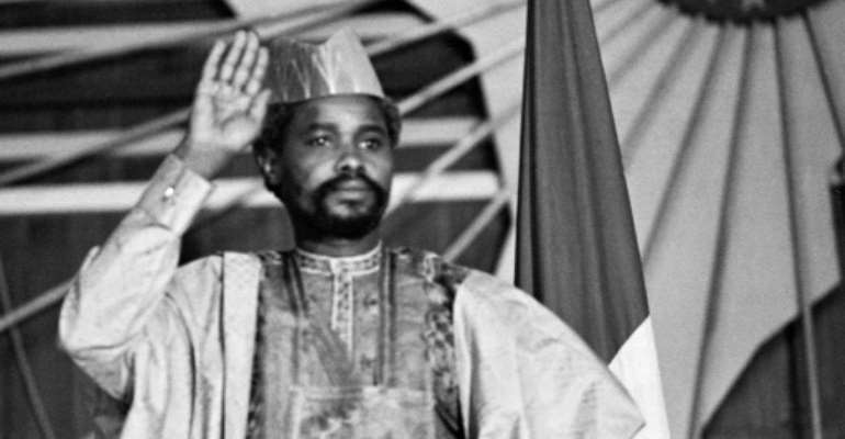 Habre, who has died at age 79, was convicted for war crimes, crimes against humanity and torture.  By JOEL ROBINE (AFP/File)
