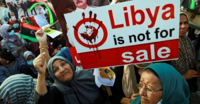 Haftar supporters protested in Benghazi earlier this month against Turkey's involvement in Libya.  By Abdullah DOMA (AFP/File)