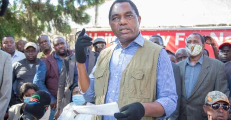Hakainde Hichilema was jailed for four months after contesting the result of the 2016 presidential election.  By SALIM DAWOOD (AFP/File)