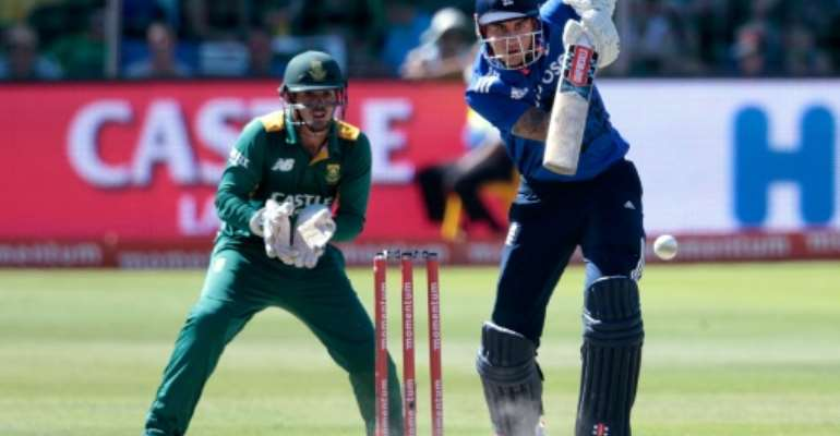 England's batsman Alex Hales plays a shot during the second One Day International match between England and South Africa at Saint George's park on February 6, 2016 in Port Elizabeth, South Africa.  By Gianluigi Guercia (AFP)