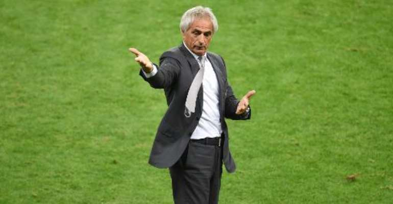 Algeria's Bosnian coach Vahid Halilhodzic gestures during the Round of 16 football match between Germany and Algeria at Beira-Rio Stadium in Porto Alegre during the 2014 FIFA World Cup on June 30, 2014.  By Christophe Simon (AFP/File)