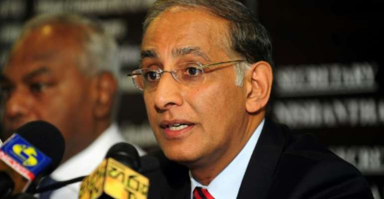 Haroon Lorgat (R) was chief executive of the International Cricket Council for four years from 2008.  By LAKRUWAN WANNIARACHCHI (AFP)