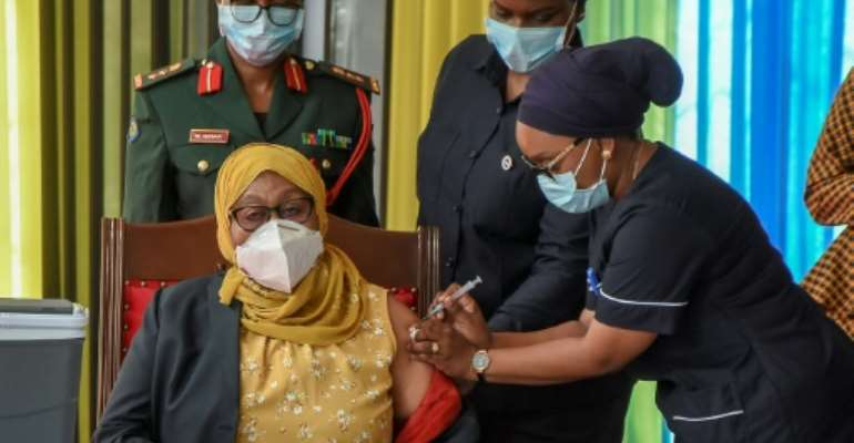 Hassan received a Covid jab live on television as she launched a mass vaccination drive for Tanzania's 58 million-strong population.  By STRINGER (AFP/File)