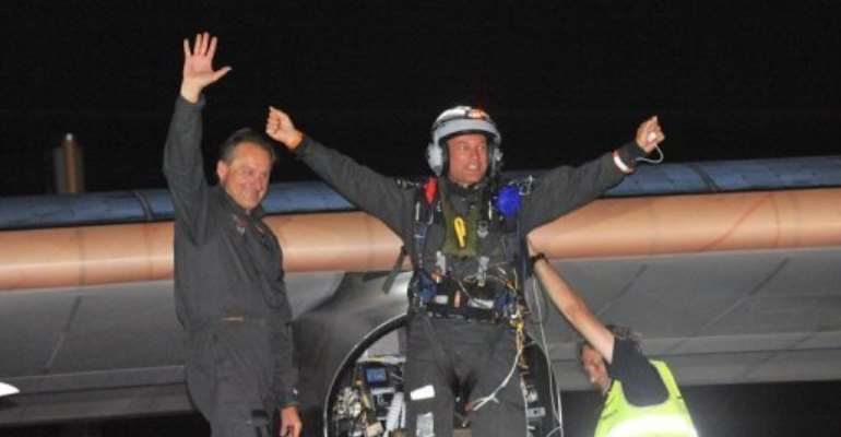 Bertrand Piccard (right) and co-pilot Andre Borschberg after landing the Solar Impulse at Rabat Sale airport.  By Abdelhak Senna (AFP)