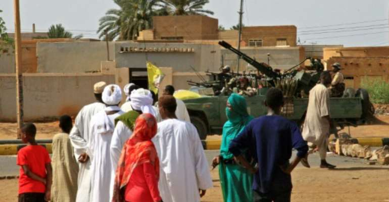 Heavily armed Sudanese security forces were out on patrol as Muslim worshippers attended Eid al-Fitr prayers.  By - (AFP)