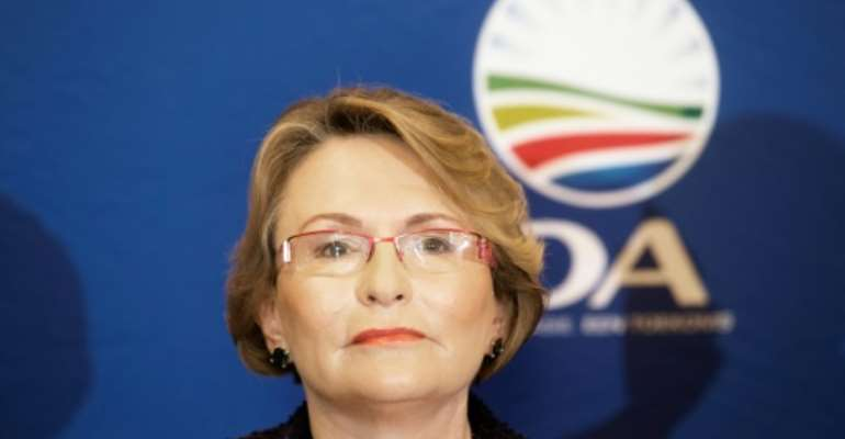 Helen Zille, former leader of South Africa's opposition Democratic Alliance political party, triggered a controversy in a March tweet praising aspects of colonialism..  By MARCO LONGARI (AFP/File)