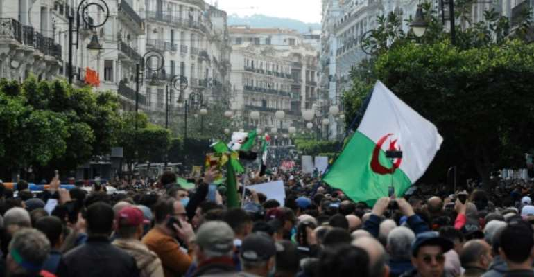 Hirak pro-democracy protests took place in the Algerian capital weekly from February 2019 until they were suspended over the coronavirus pandemic in March last year.  By - (AFP)