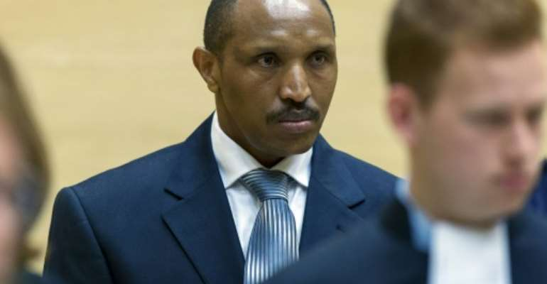 Congolese warlord Bosco Ntaganda pictured in the courtroom of the International Criminal Court during the first day of his trial in The Hague on September 2, 2015.  By Michael Kooren (Pool/AFP)