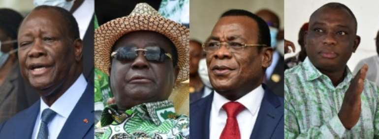 In the running: outgoing President Ouattara, former president Bedie, opposition Ivorian Popular Front president N'Guessan and former prime minister Bertin.  By SIA KAMBOU, Issouf SANOGO (AFP/File)