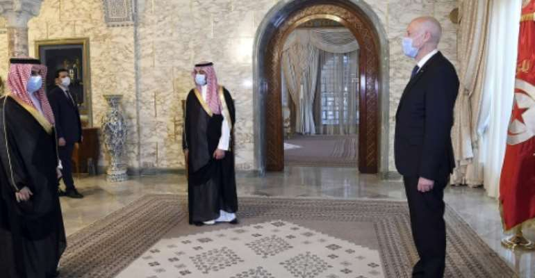 In Tunisia, Saudi Foreign Minister Faisal bin Farhan met with President Kais Saied at Carthage Palace in Carthage outside of the capital Tunis.  By - (TUNISIAN PRESIDENCY/AFP)
