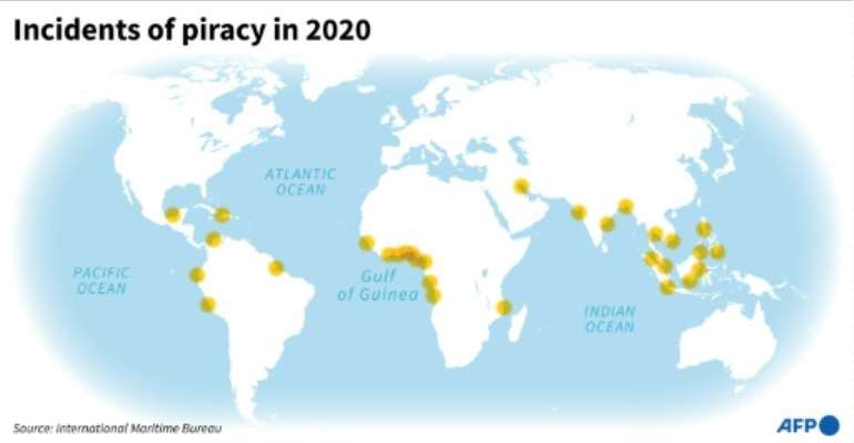 Incidents of piracy in 2020.  By Thomas SAINT-CRICQ (AFP)