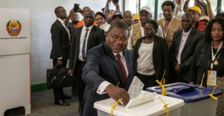 Incumbent President Filipe Nyusi won a new five-year term after his Frelimo party secured 73 percent of the vote.  By GIANLUIGI GUERCIA (AFP/File)